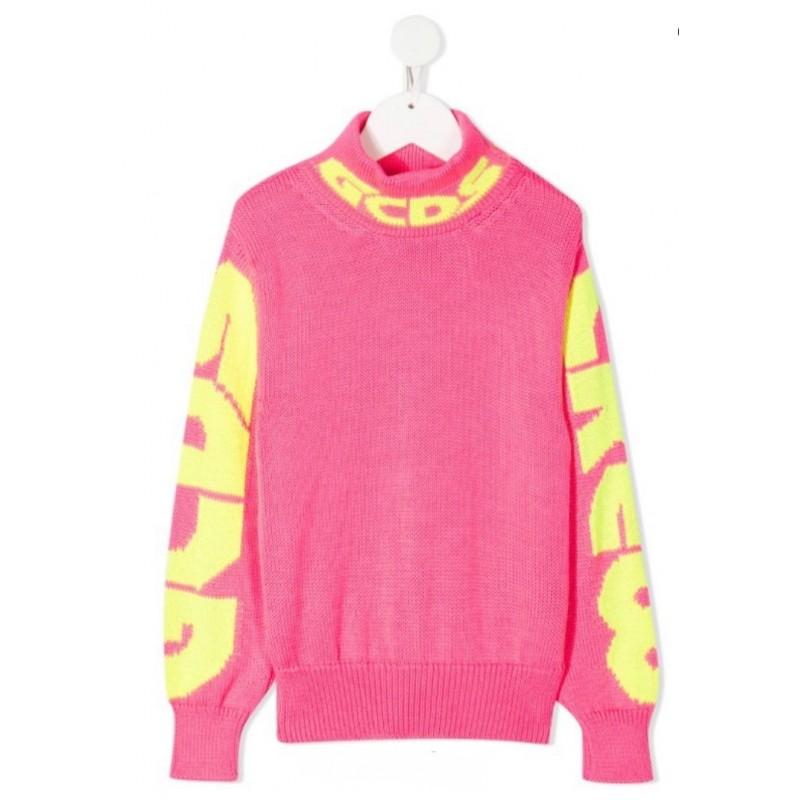 GCDS Mini - Sleeve logo jumper - FUCSIA FLUO