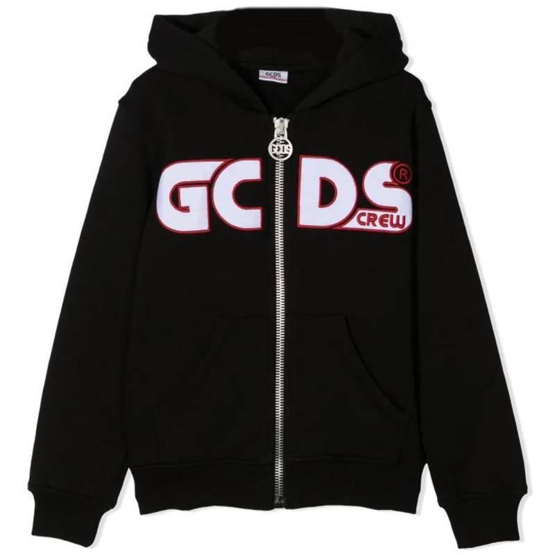 GCDS Mini - Felpa Aperta con Zip e Logo - Nero