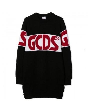 GCDS MINI - Wool Blended Dress with Logo - Black
