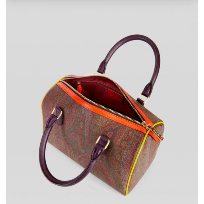 ETRO - PAISLEY Boston bag with colored inserts - Multicolor
