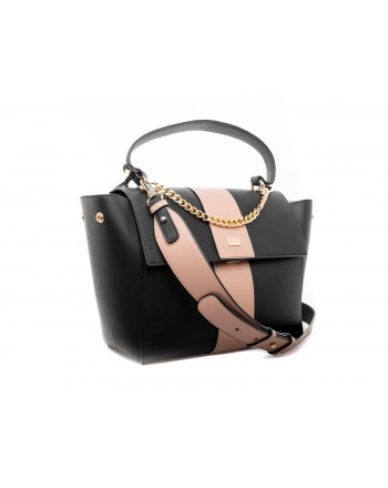 LES COPAINS - Two Colours Leather Bag - Black/Camel