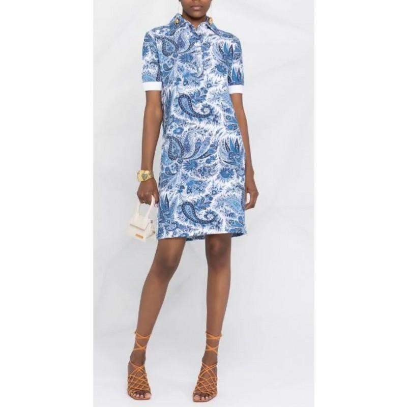 ETRO - PAISLEY print polo dress - Light blue