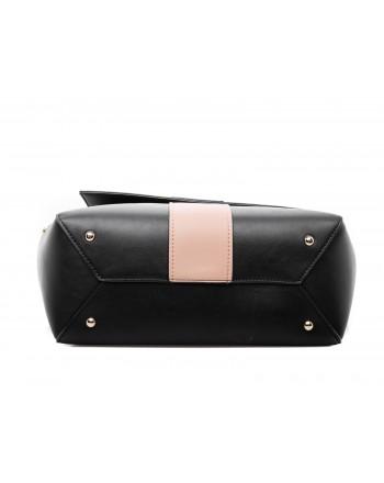 LES COPAINS - Two Colours Leather Bag - Black/Camel