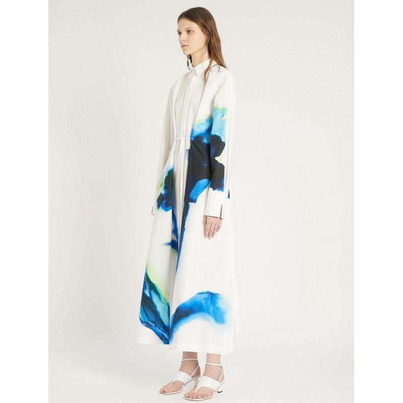 SPORTMAX - PAROLE Cotton Popeline Dress - White/Blue
