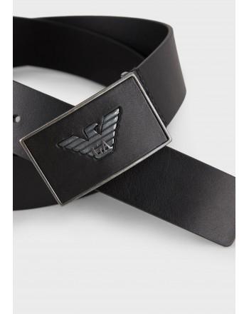 EMPORIO ARMANI - Logo Leather belt - Black