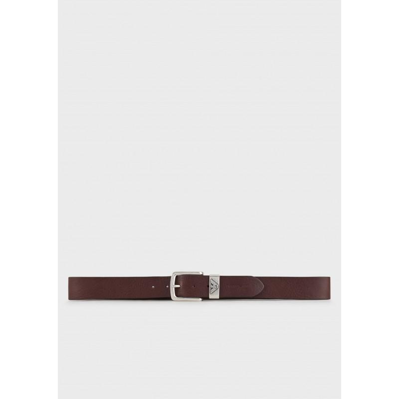 EMPORIO ARMANI - Cintura in pelle con Logo - Moro
