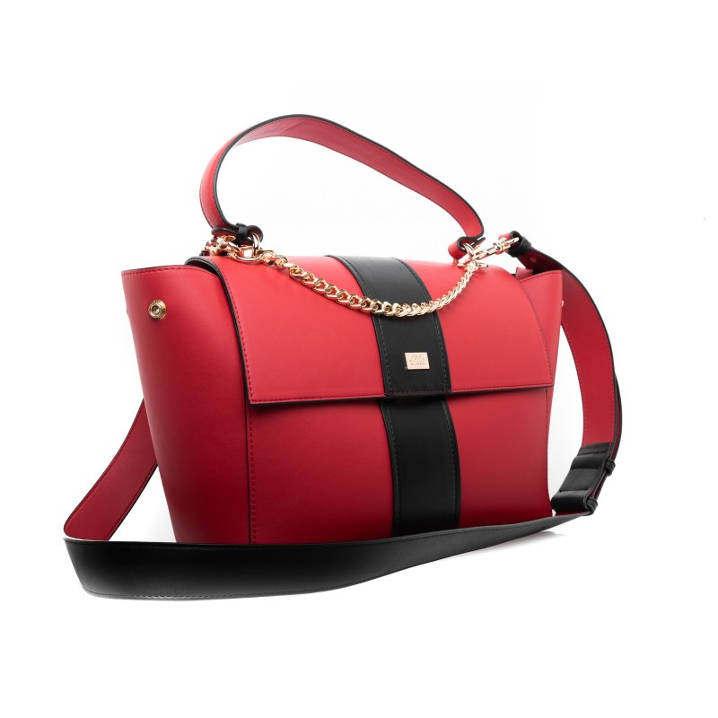 LES COPAINS - Two colours leather Bag - Red/Black