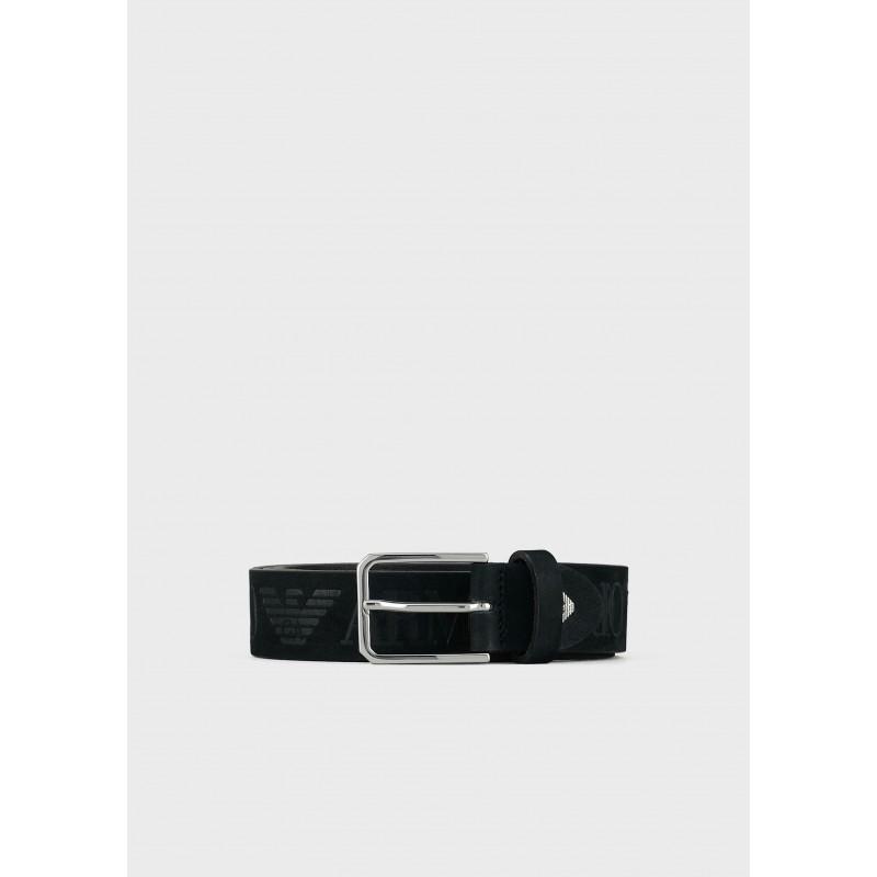 EMPORIO ARMANI - Cintura in pelle con Logo - Nero