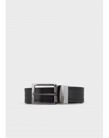 EMPORIO ARMANI - Cintura in pelle con Logo - Nero/Moro