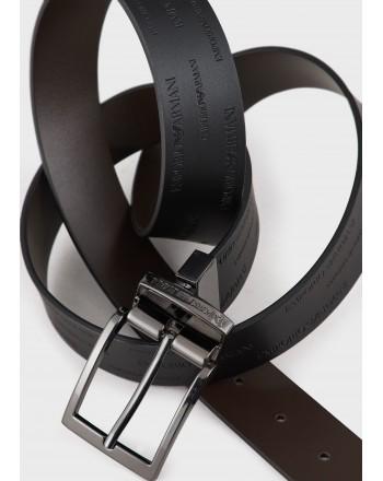 EMPORIO ARMANI - Wallet with Logo - Black/Dark Brown
