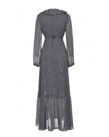 PINKO - Asimmetric dots dress - Black/White