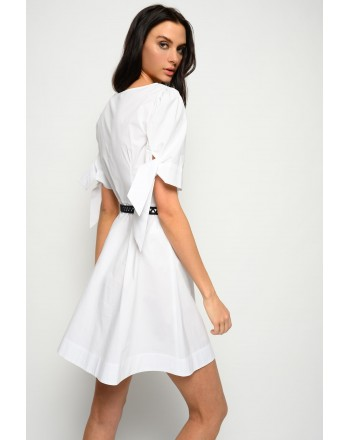 PINKO - ASSOLTO Chemisier dress with knots on sleeves - White