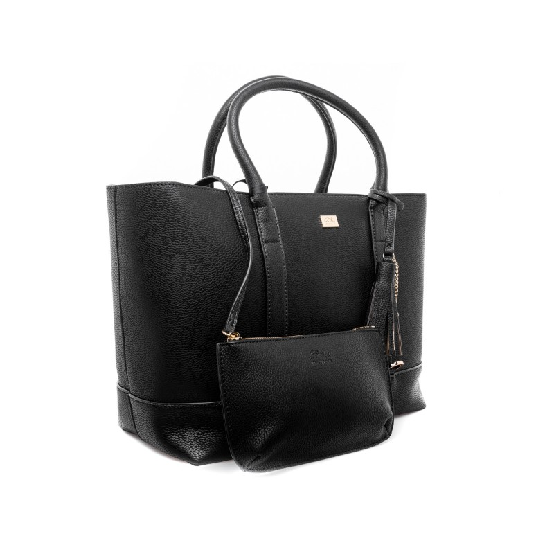 LES COPAINS - Removable pouch leather Bag - Black