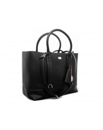 LES COPAINS - Removable pouch leather Bag - Black