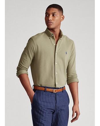 POLO RALPH LAUREN  - Ultra -Light shirt in pyquè - Military  -