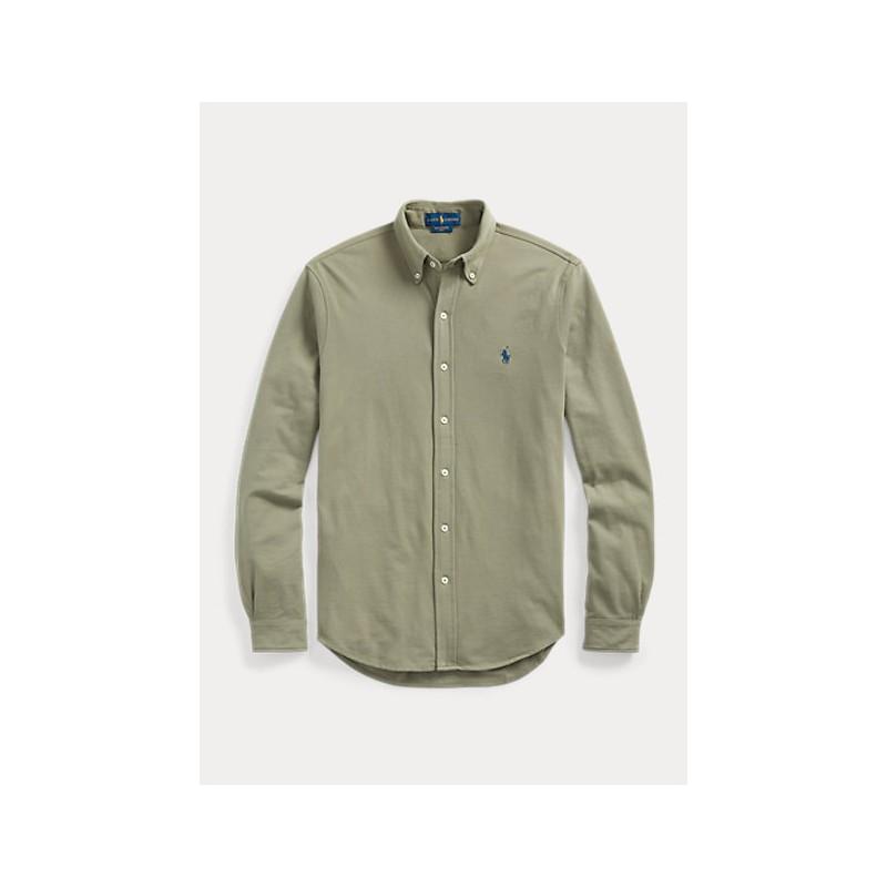 POLO RALPH LAUREN  -  Camicia ultraleggera in piquè - Militare -
