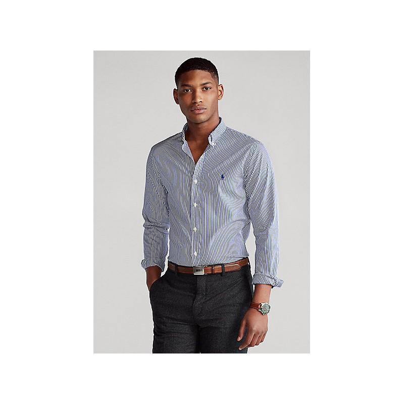 POLO RALPH LAUREN  -   Camicia popeline a righe Slim-Fit -Bianco/Blu -