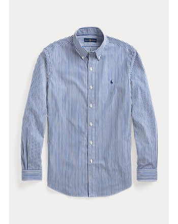 POLO RALPH LAUREN  -   Camicia in popeline a righe Custom-Fit - Bianco/Blue