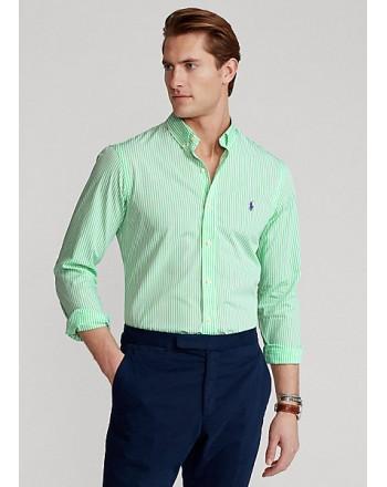 POLO RALPH LAUREN  -   Camicia popeline a righe Slim-Fit - Bianco/Mela -