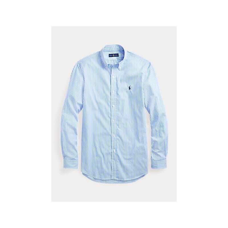 POLO RALPH LAUREN  -   Camicia popeline a righe Slim-Fit - Cielo/Bianco -