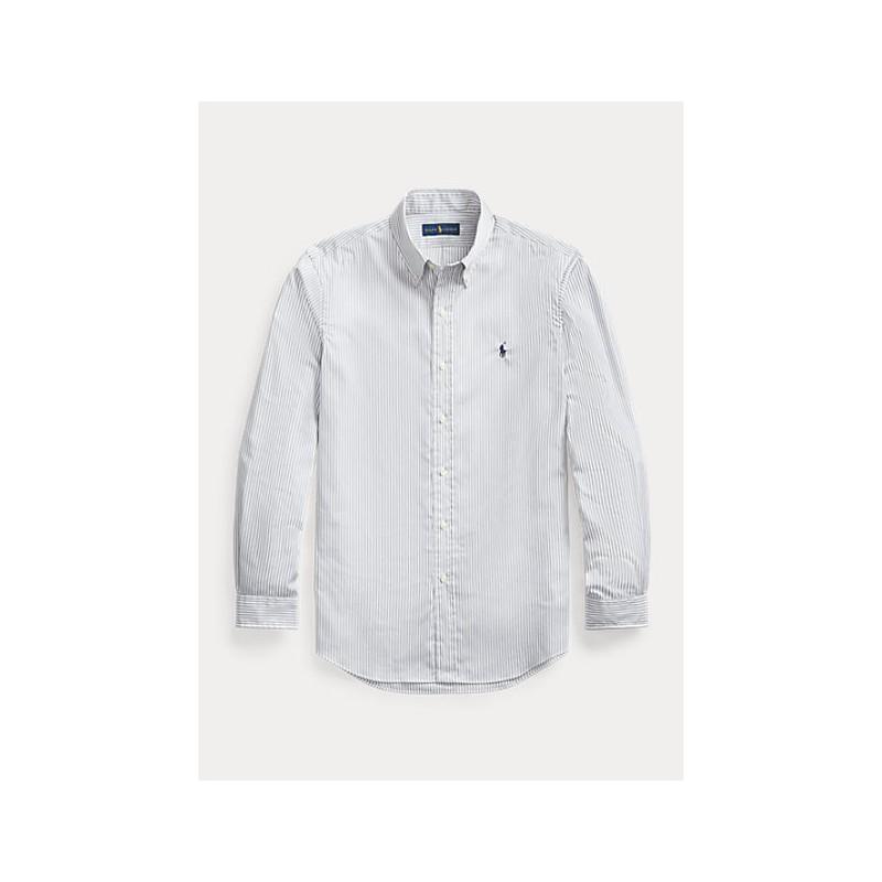 POLO RALPH LAUREN  -   Camicia popeline a righe Slim-Fit - Grigio/Bianco -