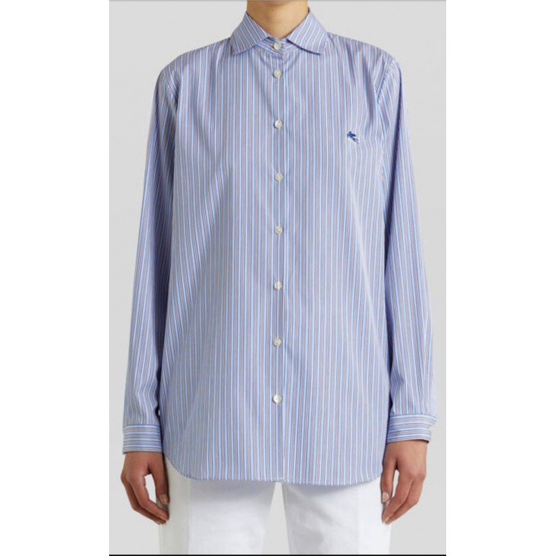 ETRO - Striped shirt with PEGASO - Sky