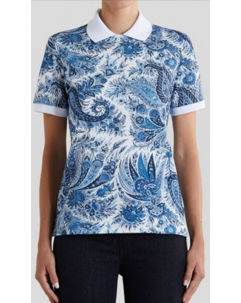 ETRO - Paisley motif polo shirt - Light blue