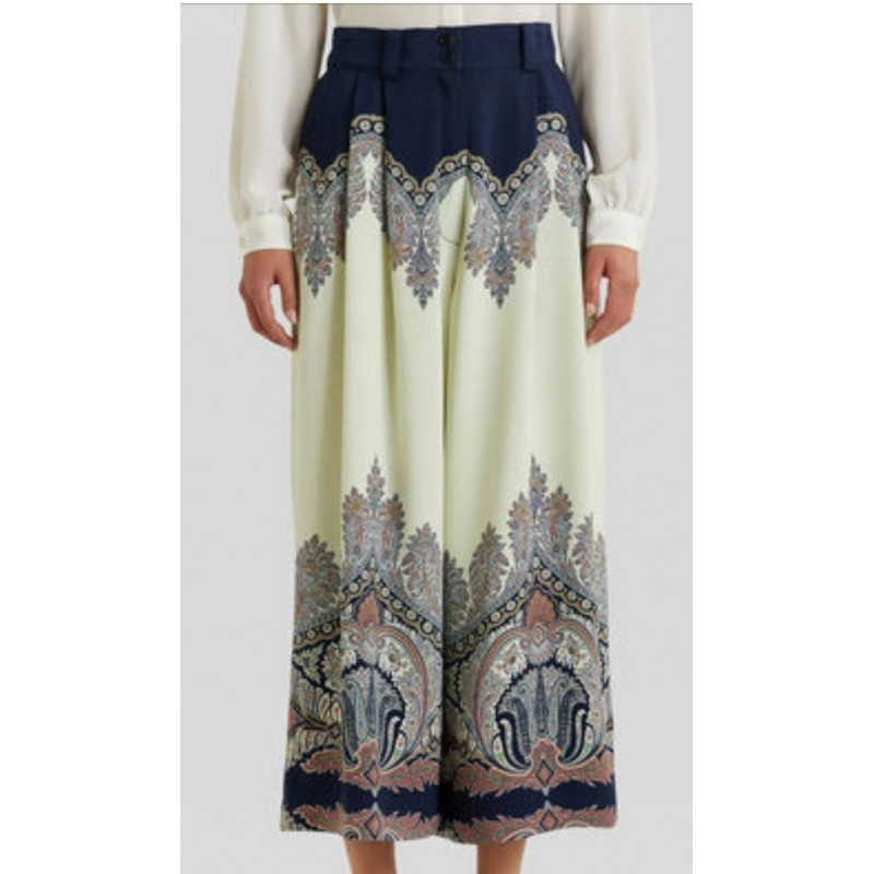 ETRO - Trousers with floral Paisley pattern - Blue / Ivory