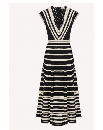 RED VALENTINO - Tulle dress with grosgrain ribbons - White / Black