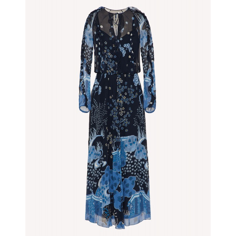 RED VALENTINO - Oriental print silk dress TOILE DE JOUY - Blue
