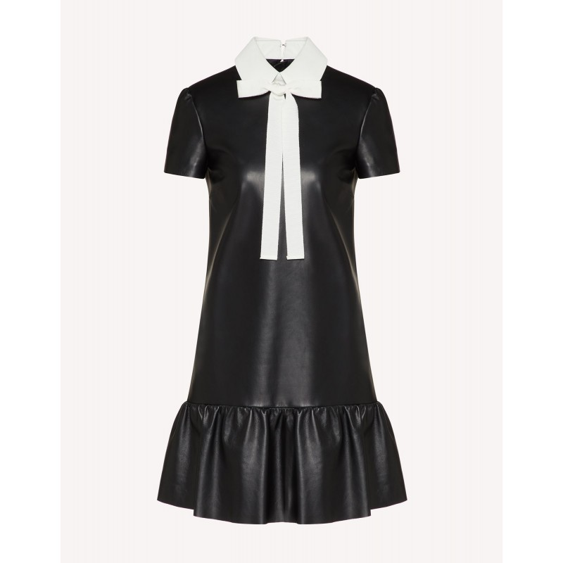 RED VALENTINO - Leather dress with collar - Black / Milk