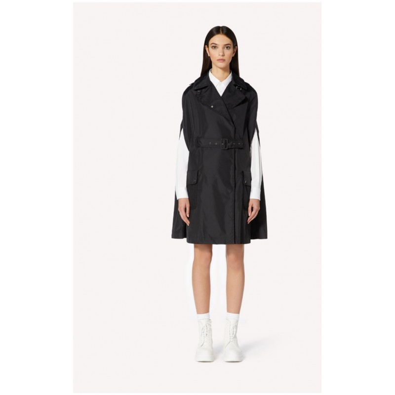 RED VALENTINO - Nylon Trench Cape with Plissè detail - Black