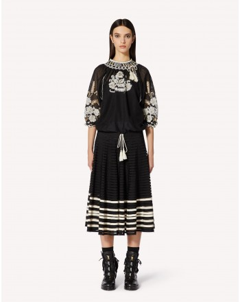 RED VALENTINO - POINT D'ESPRIT tulle skirt and grosgrain ribbons - Black / Ivory