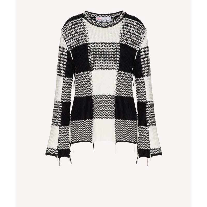 RED VALENTINO - Cotton sweater with MACRO VICHY motif - White / Black