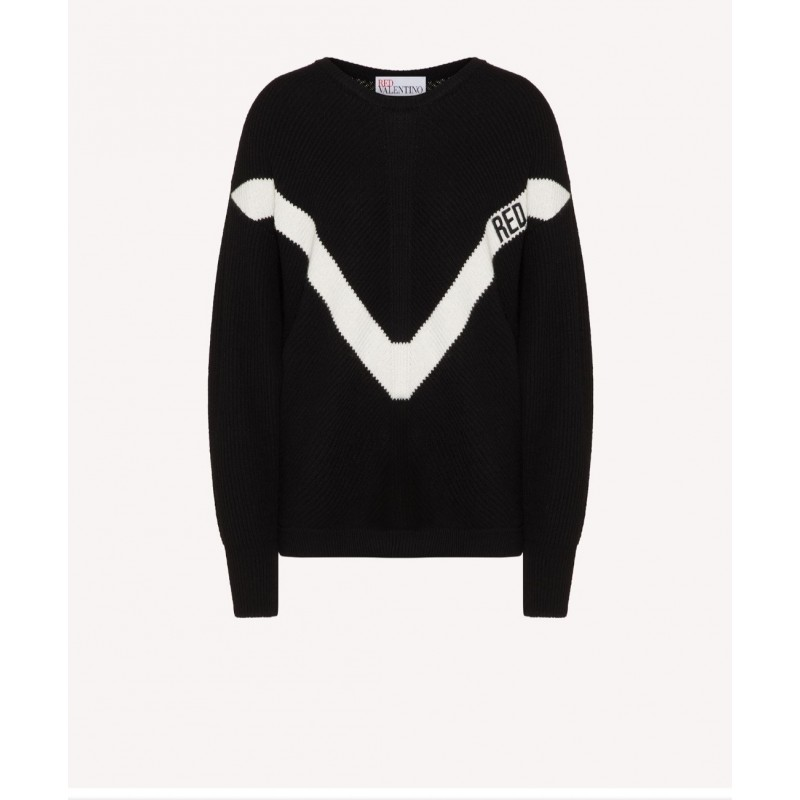 RED VALENTINO - Wool blend sweater with RED embroidery - Black / Ivory