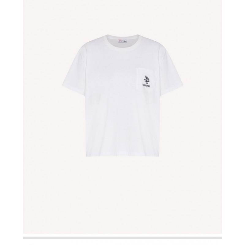 RED VALENTINO - T- shirt con ricamo TRIFOGLIO - Bianco