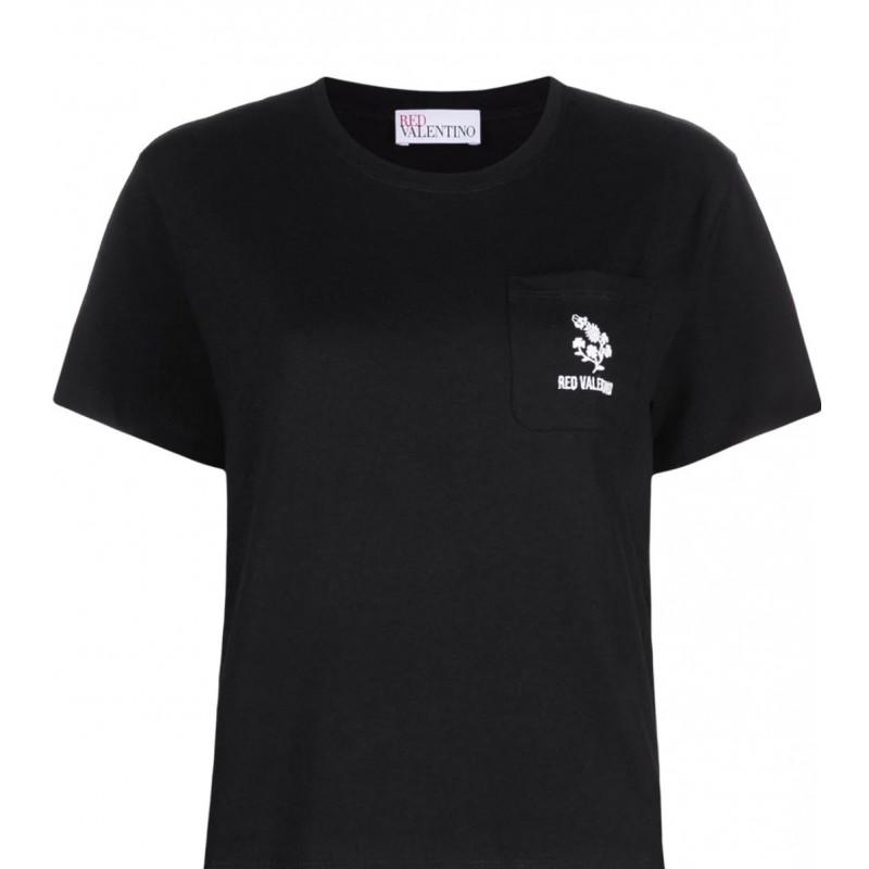 RED VALENTINO - T- shirt con ricamo TRIFOGLIO - Nero