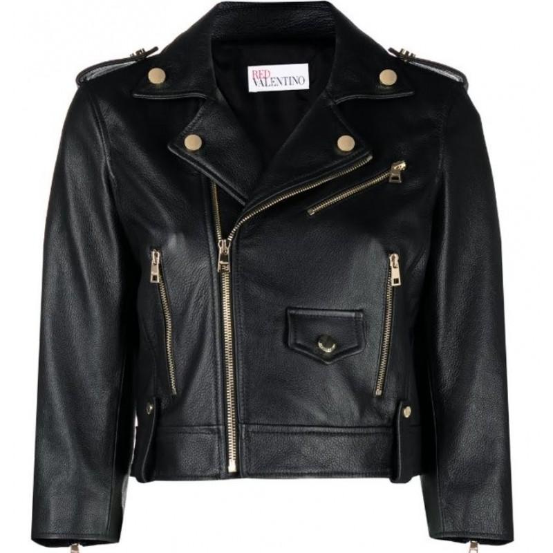 RED VALENTINO - Crop Biker Jacket - Black
