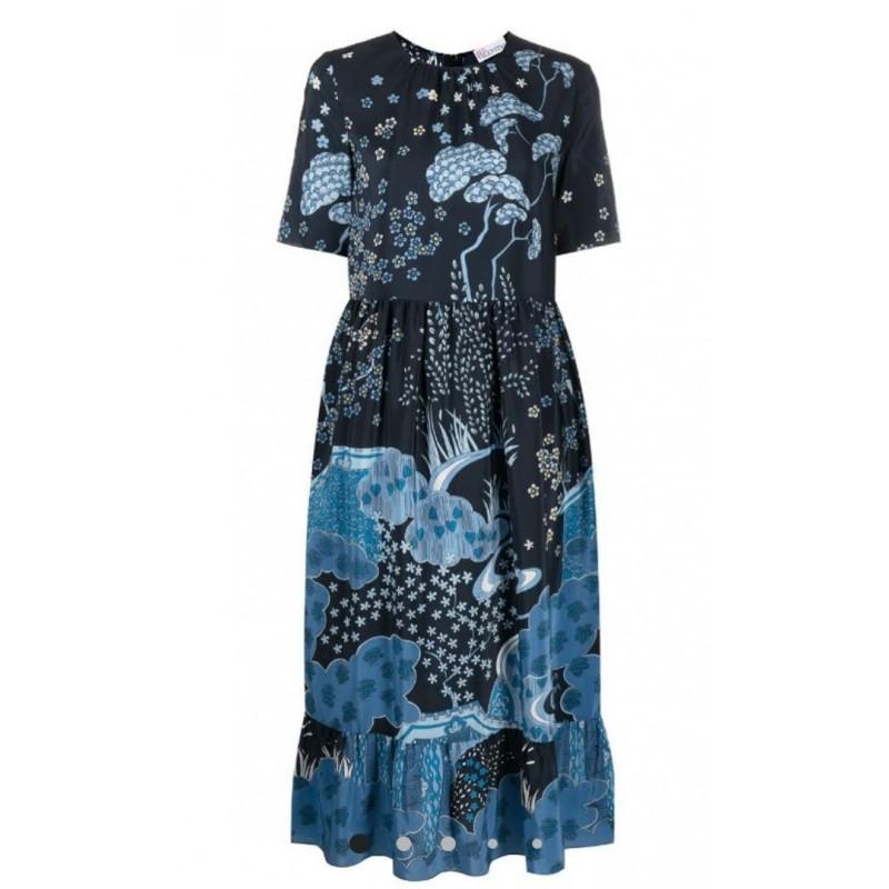 RED VALENTINO - Floral midi dress - Blue