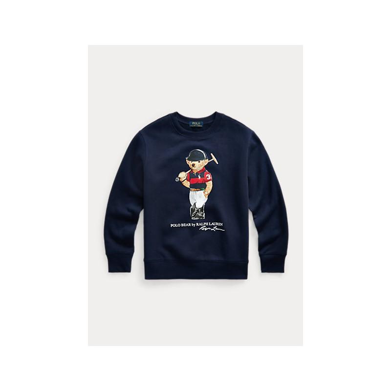 POLO KIDS - Crewneck Sweatshirt with Bear Print - Blue