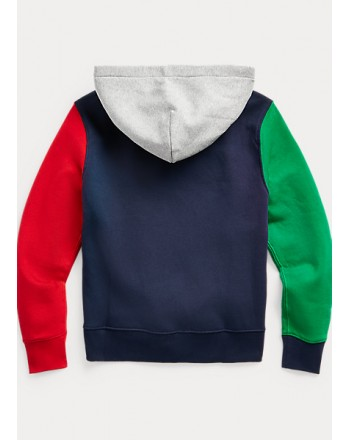 POLO KIDS - Felpa Cappuccio stampa Orso Maniche Colorate-