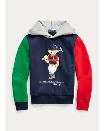 POLO KIDS - Hooded Sweatshirt with Bear Print Colored Sleeves-