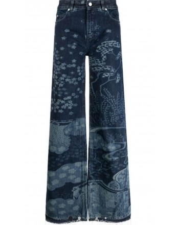 RED VALENTINO - Jeans a Fiori - Dark Blue
