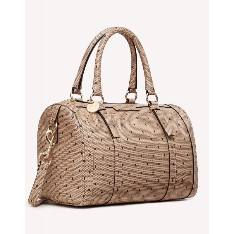 RED VALENTINO - Printed leather handbag - Nude / Black