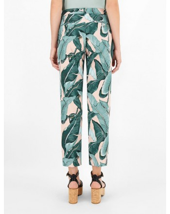 WEEKEND MAX MARA - Pantaloni in Cotone OKRA  - Exotic Leaf