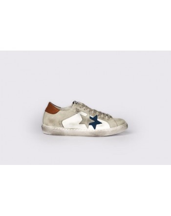 2 STAR - Sneakers 2S3048 White/Grey/Blue/Leather