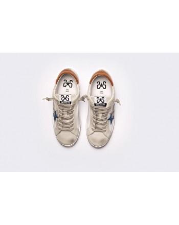 2 STAR - Sneakers  2S3048 Bianco/Ghiaccio/Blu/Cuoio