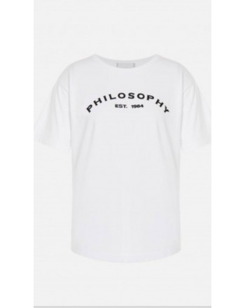 PHILOSOPHY - Cotton jersey T-shirt with logo - White