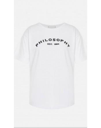 PHILOSOPHY - T-shirt in jersey di cotone con logo - Bianco