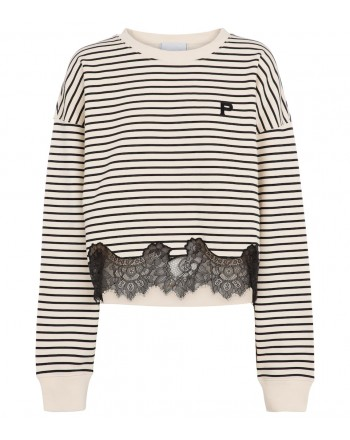 PHILOSOPHY - Striped cotton sweatshirt with lace - Sand / Black